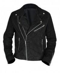 Mens Brando Biker Unique Style Black Suede Leather Jacket