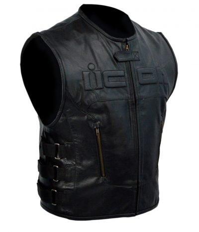 Icon Skull Motorcycle Black Leather Vest