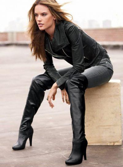 Asymmetrical Style Alessandra Ambrosio Leather Jacket