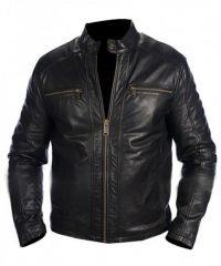 Mens Andrew Marc Black Leather Jacket