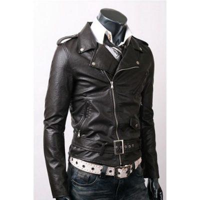 Belted Black Slim Fit High Quality Jacket