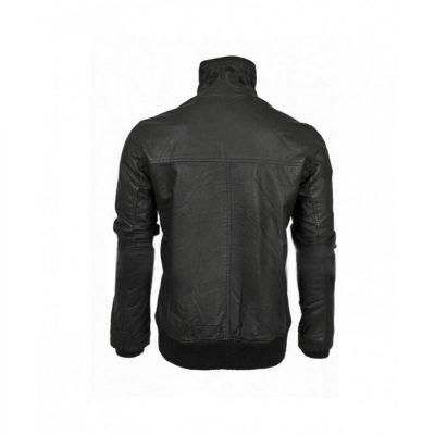 Black Leather Retro Bomber Jacket