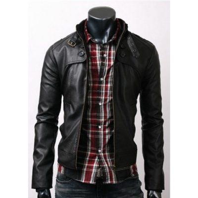 Belted Collar Black Slim Fit Stylish Leather Jacket