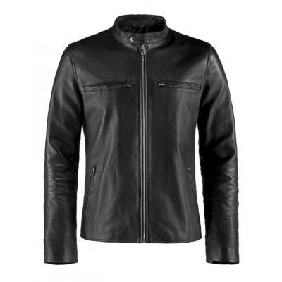 Cafe Racer Style Black Leather Jacket