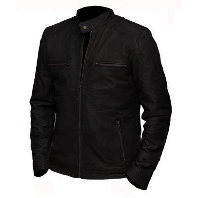Civil War Steve Rogers black Leather Jacket