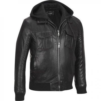 Black Rivet Bomber Faux Leather Jacket