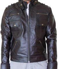 Mens Straps Dark Brown Biker Jacket