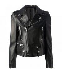 Kim Kardashian Slim Fit Biker Leather Jacket