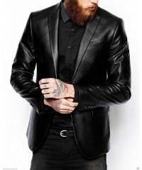Men Classic Button Closure Black leather Jacket