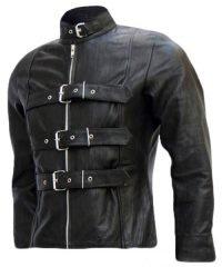 Belted Men's Black Leather Biker Jacket
