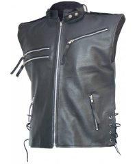 Men's Black Biker Leather Vest
