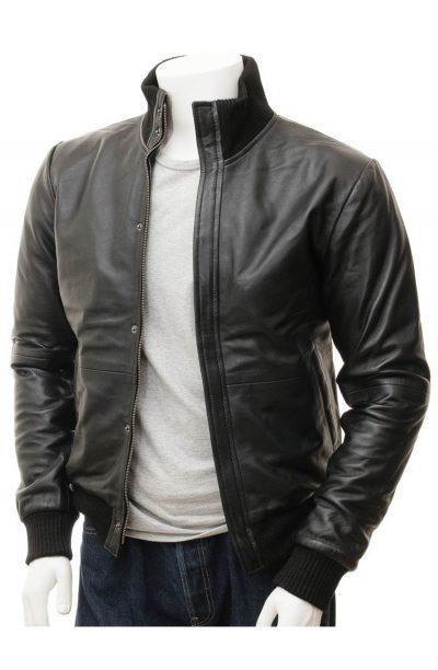 Black Leather Biker Jacket for Mens