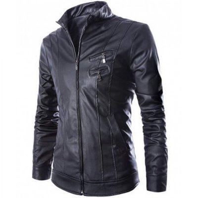 Biker Slim fit Mens Faux Leather Jacket
