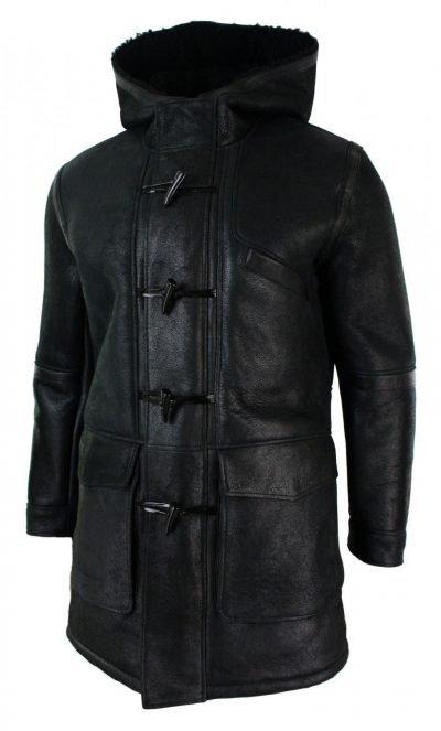 Mens Vintage Long Fur Hooded Black Shearling Sheepskin Leather Warm Duffle Trench Coat