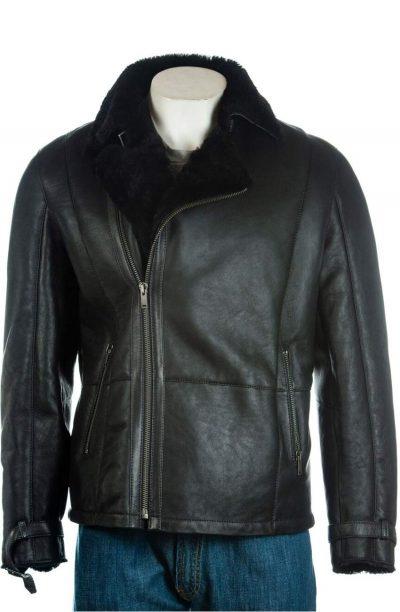 Men's Shearling Sheepskin Black Jacket