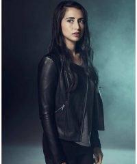 Dilan Gwyn Beyond TV Series (Willa) Round Collar Black Leather Jacket