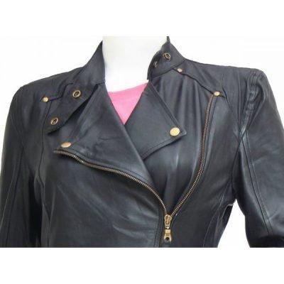 Golden Zipper Black Leather Biker Jacket Women