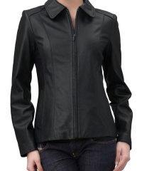 Zip Front Jacket   Black Leather Jacket For Women