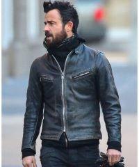 Justin Theroux Black Leather Motorcycle Jacket