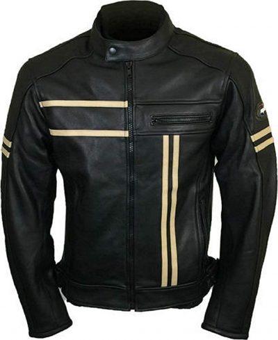 Vintage Mens Cafe Racer Retro Cruiser Biker Black Leather Jacket