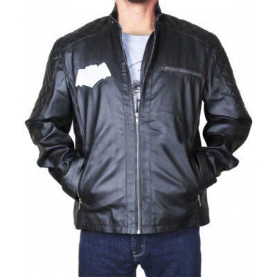 Quilted Shoulders Batman Logo Hoodie Biker Black Leather Jacket