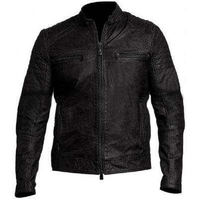 Vintage Biker Café Racer Distressed Black Leather Jacket