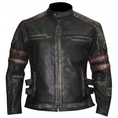 Vintage Cafe Racer Slim fit Biker Retro 1 Black Distressed Leather Jacket