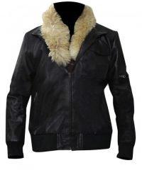 Spider-Man Homecoming Michael Keaton Fur Collar Black Bomber Leather Jacket