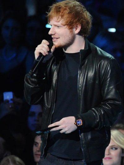 Ed Sheeran Bomber Black Leather Jacket