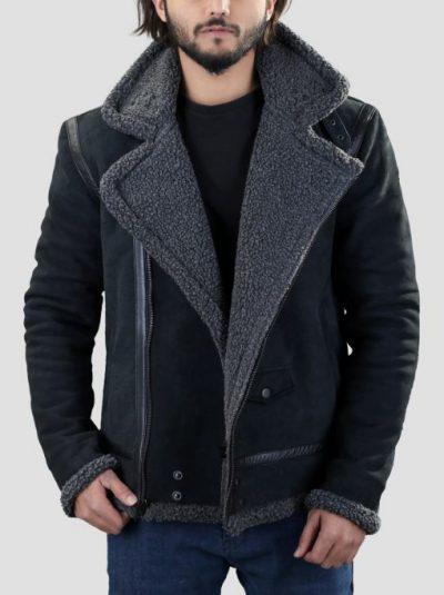 Men's WHJ013 Winter Grey Shearling Black Leather Jacket