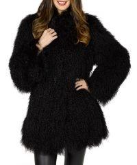 Women's Winter Mongolian Black Fur Coat