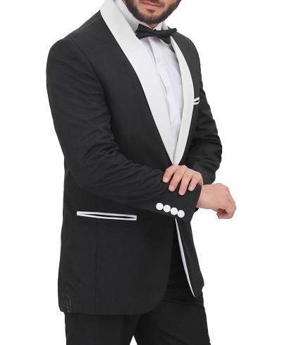 Sergio White Shawl Lapel Black Tuxedo