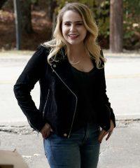 Good Girls Annie Marks Suede Black Leather Jacket