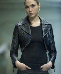 Justice League Gal Gadot Black Leather Jacket