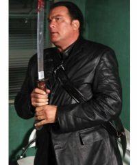 Steven Seagal Against The Dark Black Trench Coat