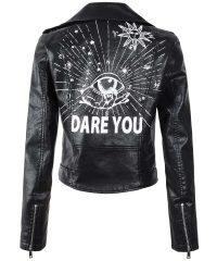 Eye Dare You Black Leather Jacket