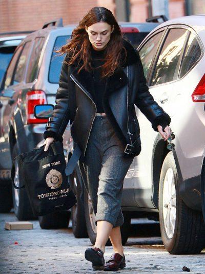 Keira Knightley B3 Shearling Black Aviator Jacket
