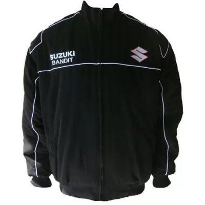 black-suzuki-bandit-motorcycle-textile-racing-jacket