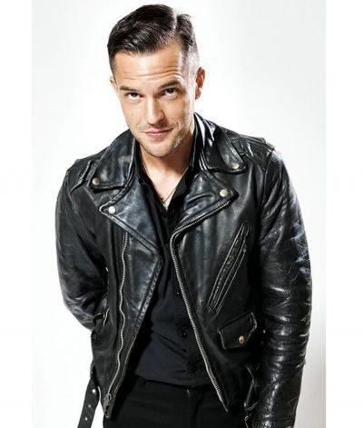 brandon-flowers-american-singer-black-leather-jacket